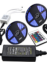 HKV® 1 Pcs 10M(2*5M) Waterproof 5050 RGB 300LED RGB Strip Flexible Light 24Key IR Remote Controller 5A Power Supply AC 100-240V
