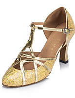 Damen Latin Glitzer Nubukleder Absätze Innen Verschlussschnalle Gold Silber 5 - 6,8 cm Maßfertigung