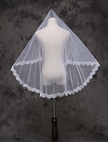 Wedding Veil One-tier Blusher Veils Elbow Veils Fingertip Veils Lace Applique Edge Lace Tulle