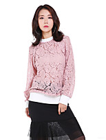Women's Casual Simple Fall Shirt,Solid Round Neck Long Sleeve 20% Cotton 80% Polyester 200D