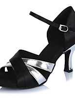 2017 Classic Brand Modern Latin Sandals Customizable Women's Dance Shoes  Heeled 6.5CM shoes Satin Black/Silver