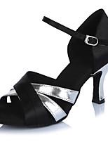 Для женщин Латина Сатин Лакированная кожа Сандалии На каблуках Концертная обувь С пряжкой Планка Цветовые блоки На шпильке Черный5 - 6,8