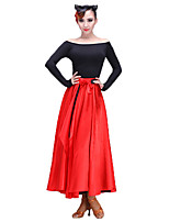 Latin Dance Women's Performance Senior Emulation Silk Stretch Chiffon 1 Piece Skirts