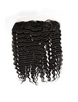 Factory Direct Sales 100% Unprocessed Natural Black Brazilian Human Hair Deep Wave Free Part 13*4 Ear to Ear Lace Frontal Closures with Baby Hair