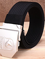 Men's Eagle Pattern Alloy Outdoor Waist Belt Casual/Business Solid Pure Color Nylon Canvas Belt Black/Khaki/Army Green
