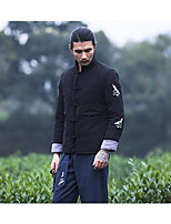 Men's Padded Coat,Simple Active Daily Casual Solid Embroidery-Cotton Polyester Cotton Long Sleeve