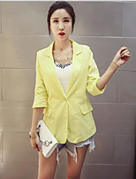 Women's Casual/Daily Simple Summer Blazer,Solid V Neck 3/4 Length Sleeve Short Other