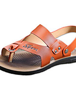 Men's Sandals Comfort Summer Synthetic Microfiber PU Casual Black Orange Khaki Flat