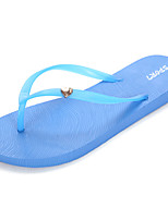 Для женщин Сандалии Удобная обувь Полиуретан Лето Черный Красный Синий На плоской подошве