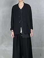Women's Going out Sexy Spring Blazer,Color Block V Neck Sleeveless Short Cotton