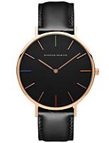 Men's Dress Watch Fashion Watch Quartz Genuine Leather Band Casual Black Brown