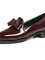 Women's Shoes Heels Comfort Leatherette Spring Fall Casual Party & Evening Dress Comfort Bowknot Chunky Heel Burgundy Black White 1in-1 3/4in
