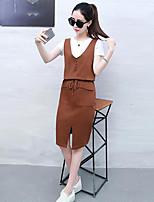 Для женщин Повседневные Лето Как у футболки Платья Костюмы Круглый вырез,На каждый день Однотонный С короткими рукавами Слабоэластичная