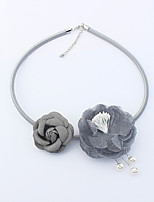 Women's Choker Necklaces Imitation Pearl Flower leather Euramerican Fashion Bohemian Jewelry 1pc