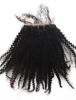 Кудрявый кудрявый 5x5inch кружева закрытия человеческих волос верхней кружева закрытия с baby hair