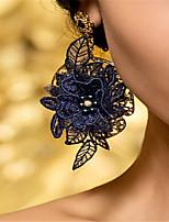 Femme Boucles d'oreilles Perle imitée Strass Vintage Dentelle Strass Forme de Feuille Bijoux Pour Mariage Soirée Halloween Anniversaire