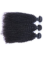Medium Size Best Quality 3 Pcs/Lot 300g Brazilian Remy Human Hair Wefts 100% Unprocessed Natural Black Human Hair Kinky Curly Weaves/Extensions