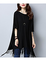 Women's Casual/Daily Regular Pullover,Solid Round Neck Half Sleeve Cashmere Spring Medium Micro-elastic