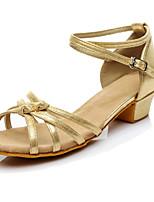 Для женщин Латина Искусственное волокно На каблуках Для начинающих С пряжкой На низком каблуке Золотой Черный Серебряный Менее 2,5 см