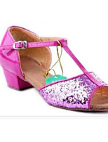 Women's Latin Paillette Glitter Flats Heels Practice Purple Silver Gold