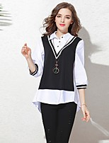 Women's Daily Casual Lawn Vacation Date Going out Casual/Daily Street Athleisure Sexy Simple Cute All Seasons Summer Shirt,Solid Color