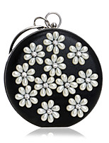 Women Bags All Seasons Polyester Evening Bag with Rhinestone Pearl Detailing Bead Chain Flower for Event/Party Blue Gold Black Silver Red