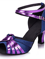 Women's Latin Faux Leather Sandals Performance Buckle Cuban Heel Purple Gold 2