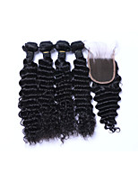 4Bundles 400g Brazilian Deep Wave Remy Human Hair Wefts with 1Pcs Free Part 4x4 Lace Top Closures 100% Unprocessed Natural Black Human Hair Extensions