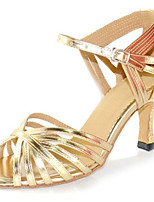 Women's Latin Faux Leather Sandals Performance Criss-Cross Stiletto Heel Gold 3