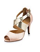 Women's Latin Synthetic Satin Heels Indoor Animal Print Stiletto Heel Almond 2
