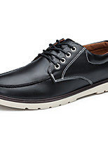 Men's Oxfords Walking Fashion Boots PU Spring Summer Fall Winter Casual Outdoor Office & Career Split Joint Flat Heel Black Brown Blue