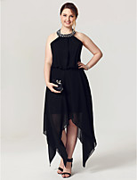 A-Line Halter Asymmetrical Chiffon Cocktail Party Homecoming Dress with Crystal Detailing Pleats by TS Couture®
