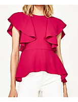 Women's Casual/Daily Simple Blouse,Solid Round Neck Short Sleeve Polyester Others