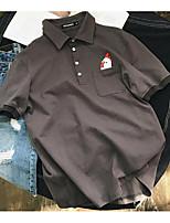 Для мужчин Повседневные Лето Polo Рубашечный воротник,Простое Однотонный С короткими рукавами,Хлопок,Средняя