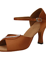 Women's Latin Silk Sandals Performance Buckle Crystals/Rhinestones Stiletto Heel Brown 3