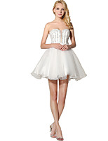Princess Strapless Short / Mini Organza Honeymoon Cocktail Party Dress with Beading