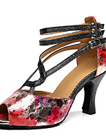 Women's Latin Synthetic Heels Professional Pattern/Print Chunky Heel Black 2