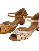 Women's Latin Silk Sandals Performance Crystals/Rhinestones Cuban Heel Khaki Blushing Pink 1
