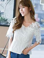 Women's Casual/Daily Simple Blouse,Solid Boat Neck Short Sleeves Polyester Others