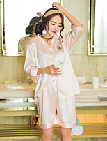 Women's Satin & Silk Nightwear,Sexy Solid-Thin