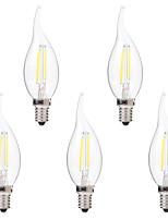 5 pcs BRELONG Dimmable E14 2W 2COB LED Filament Bulbs White / Warm White AC220-240V