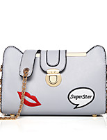 Women Shoulder Bag PU All Seasons Event/Party Rectangle Clasp Lock Gray Black White
