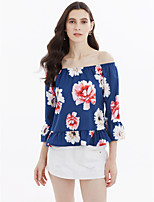 Women's Going out Casual/Daily Sexy Simple Cute Spring Summer Blouse,Floral Boat Neck 3/4 Length Sleeve Lace Medium