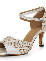Women's Latin Lycra Heels Indoor/Professional Rhinestone Stiletto Heel Peach Black 2 - 2 3/4 3 - 3 3/4 Customizable