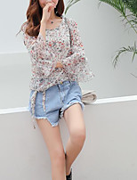 Women's Daily Simple Summer Blouse,Print Round Neck 3/4 Length Sleeve Others