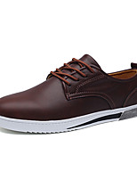 Men's Oxfords Comfort Leather Spring Fall Casual Office & Career Party & Evening Comfort Lace-up Flat Heel Wine Gray Black Flat