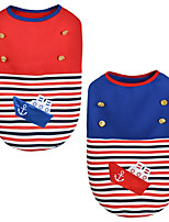 Dog Vest Dog Clothes Casual/Daily Stripe Ruby Blue