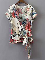 Women's Daily Casual Simple T-shirtSolid V Neck Half Sleeve Polyester