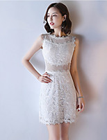 A-Line Jewel Neck Knee Length Lace Cocktail Party Dress with Lace