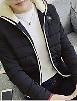 Men's Padded Coat,Simple Active Daily Casual Solid Color Block-Cotton Polyester Polyester Cotton Long Sleeve